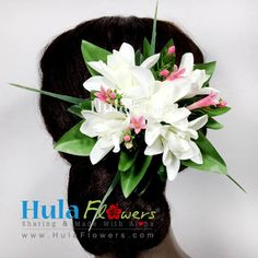 Tropical Hawaii Flowers Hair Clip by HULA FLOWERS ************Sharing And Made with Aloha************ THIS FLOWERS HAIR CLIP IS COMPOSED OF : Silk Tuberose Hair Clip Silk Fern & Maile Leaves Plastic Filler Flowers Built on a silver metal hair clip: 3″ long Total size approx.: 4″ x 4″