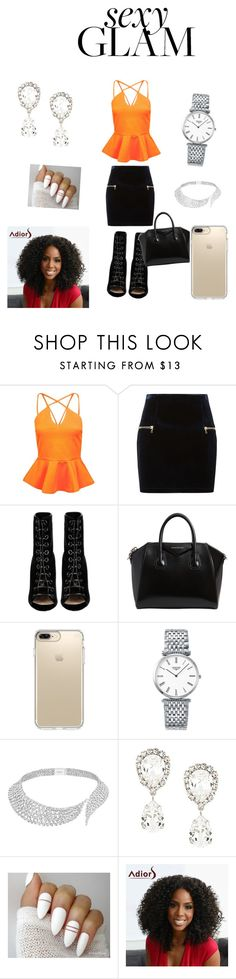 """""""sexy glam"""" by kaylend924837 ❤ liked on Polyvore featuring beauty, Boohoo, Sandro, Barbara Bui, Givenchy, Speck, Longines, Messika and Dolce&Gabbana"""