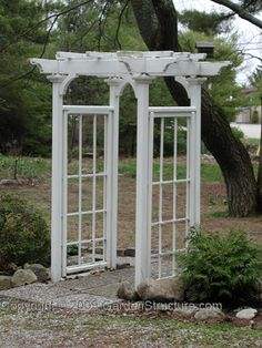 Make sides from old window panes +  remove glass + frame with columns + rustic top + paint robbins egg blue, rust or mustard yellow + simple garland draped over top = wedding arbor