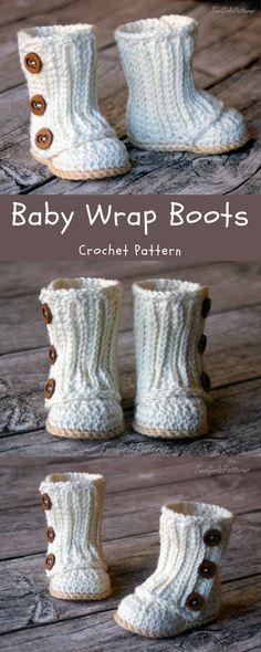 Crochet Pattern #112 Baby Wrap Boot - Instant Download - PDF L #babyboots #crochetpatternbaby #babycrochet #ad