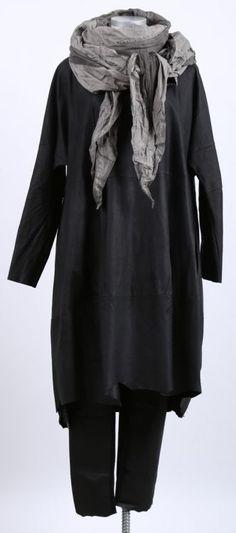 rundholz - Lederkleid in Ballonform Washed black - Sommer 2015 - stilecht - mode für frauen mit format...