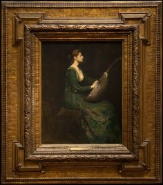 Thomas Wilmer Dewing, Lady with a lute, 1886 Antique Picture Frames, Antique Frames, Vintage Frames, Paintings I Love, Painting Frames, National Gallery Of Art, Art Gallery, Muse Art, Traditional Paintings