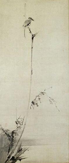 Shrike Perched on a Withered Branch (Miyamoto Musashi).