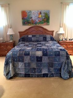 "17 pairs of jeans 439 squares cut to 6 1/2"" sewn with a 3/8 seam and back side squares are in flannel 19 squares wide by 23 rows length for a Queen size which I made extra length to tuck two layers of pillows I wanted a clean look when bed was made."