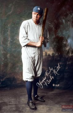 How about a Don Stokes colorization to celebrate the Babe's Birthday? Ruth was born on February 1895 in Baltimore, Maryland and passed away at the young age of 53 on August I think he maessed up the face Famous Baseball Players, Best Baseball Player, Baseball Star, Chicago Cubs Baseball, Baseball Cards, Giants Team, Baseball Pictures, Mickey Mantle, Babe Ruth