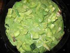 Avocado Green Curry  3 tbls Green Curry Paste (I like Thai Kitchen version, easy to find & dependable) 1 can coconut milk squeeze of Lime juice 3 cloves garlic, crushed, black pepper salt] 1 tbls brown sugar big bunch of Basil combine all ingredients in a Nutribullet or blender to make the sauce