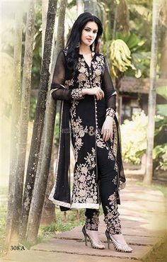 Buy Black Georgette Straight Suit online from the wide collection of Salwar Kameez. This Black colored Salwar Kameez in Faux Georgette fabric goes well with any occasion. Shop online Designer Salwar Kameez from cbazaar at the lowest price. Designer Salwar Kameez, Indian Salwar Kameez, Churidar Suits, Anarkali Suits, Designer Anarkali, Salwar Suits Online, Salwar Kameez Online, Party Kleidung, Indian Outfits