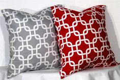 Decorative Pillows 1 Grey and White Gotcha  and 1 Red and White Gotcha Accent Pillow - 16 x 16 inch square - TWO PILLOW COVERS. $23.00, via Etsy.