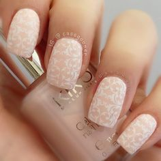 Nude & White nails by cassgooner