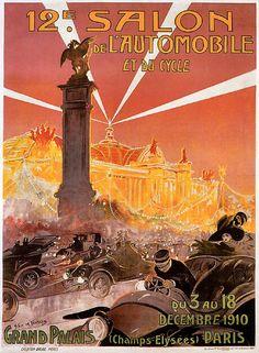 12e Salon de l'Automobile Paris Motor Show 1910 reproduction poster
