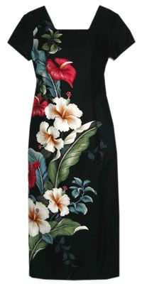 Simply stunning! Celebrate the beauty of Hawaii with this gorgeous soft herringbone rayon Hawaiian Sweetheart dress! Shapely darts with side left slit opening & easy back zipper. Finished with contrast piping on sleeves and square neckline. Matching Hawaiian island design of tropical anthurium & hibiscus flowers on back. @ Alohaz