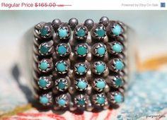Valentine Sale Vintage Signed Southwestern Zuni Sterling Silver Snake Eye Turquoise Ring