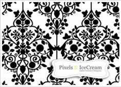 Seamless black and white damask pattern - Free download