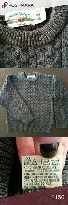 100% Wool Sweater, Made in Ireland Charcoal Grey, Thick Wool Sweater. Perfect in colder climates! In excellent condition. Make me an offer! :) Aran Crafts Sweaters