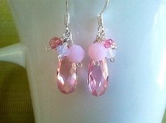 Spring Collection Pink Silver Earrings by LaLaCrystal on Etsy, $25.00