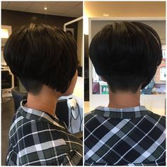 just short haircuts, nothing else. If you're thinking of getting an undercut, sidecut, pixie, or any. Stacked Angled Bob, Cute Hairstyles, Wild Hairstyles, Short Hair Cuts, Short Hair Styles, Graduated Bob Haircuts, Aline Bob, Shaved Nape, Bob With Bangs