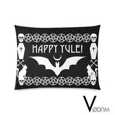 Happy Yule Pillow Case Gothic Pagan Bat Bones Dark Pentagram