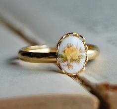 Victorian Rose- Tiny Cameo Ring-Yellow