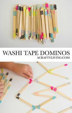 Washi Tape per bambini Dominos - A Smart Life - Washi Tape Domino fai-da-te! Fun K . - Washi Tape per bambini Dominos – A Smart Life – Washi Tape Domino fai-da-te! Popsicle Stick Crafts, Craft Stick Crafts, Fun Crafts For Kids, Diy For Kids, Washi Tape Crafts, Diy And Crafts Sewing, School Fun, Pre School, Diy Toys