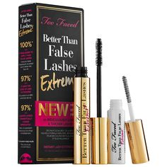 What it is:An instant lash extension kit featuring an improved formula with a mascara and lash fibers longer and thicker lashes. What it does:Get a false lash look with Better Than False Lashes Extreme! Too Faced improved their coveted Better Than F