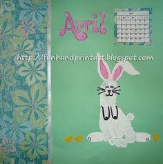 Handprint and Footprint Arts & Crafts: Footprint Bunny for April's Handprint Calendar 2