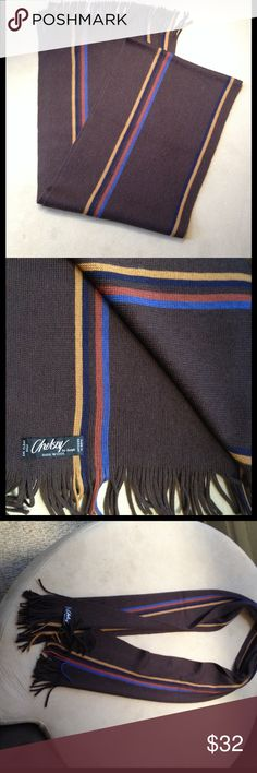 Chelsey by Joseph Men's Scarf Never worn. Beautiful brown scarf with multicolored stripe. 100% wool and made in Germany. Joseph Accessories Scarves