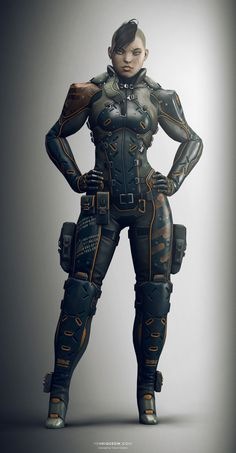 Future Girl, Futuristic Suit, Cyberpunk, Cyber Girl, Side Shaved Hairstyle, Future Warrior, Punk Girl, Baby Cakes