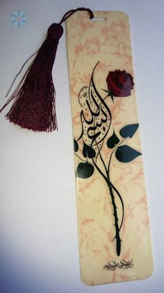 Books › Books/ Qur'an Accessories › Laminated Rose Petal Bismillah Hirahmanirahim Bookmarker with Tassel Painting Techniques Canvas, Creative Bookmarks, Diy Bookmarks, Arabic Calligraphy Art, Calligraphy Alphabet, Handmade Gifts For Boyfriend, Islamic Posters, Flower Phone Wallpaper, Ramadan Crafts