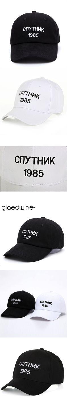 b42a6f2ddec Glaedwine New Black Baseball Cap Russian letter Satellite 1985 Hip Hop dad  Hats Youth Snapback caps Hats For Men Women Wholesale