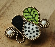 "A little Matisse inspired brooch--I'm not usually a fan of ""zipper art"" but I like this!"