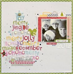 Christmas Cheer Layout by Nicole Nowosad. Christmas Scrapbook Layouts, Scrapbook Paper Crafts, Christmas Layout, Christmas Tree, Christmas Design, Christmas Ideas, Christmas Crafts, Baby Scrapbook, Scrapbook Cards