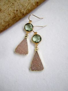 Druzy Earrings Drusy Quartz Green Amethyst Gold by julianneblumlo, $135.00