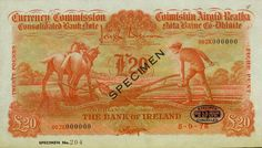 1978 Ploughman - Bank of Ireland colour trial, printed in Orange, cancelled and overprinted Specimen Banks, Ireland, Irish, Pumpkin, Colour, Orange, Printed, Color, Pumpkins