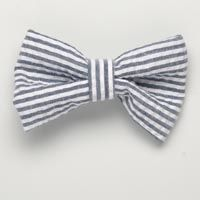 Small Navy Blue Seersucker Bow