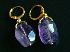 Faceted Amethyst Earrings genuine Bali Brass by pinkowljewelry