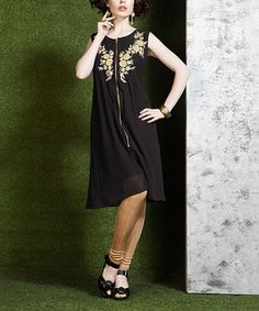 Love this Black & Beige Embroidered Silk Tunic on #zulily! #zulilyfinds