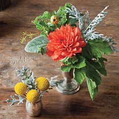 Mini arrangements can have just as much impact. Use silver serving pieces as petite vases for individual blooms like dahlias, lambs' ears, drumsticks, yarrow, and artemisia leaves.