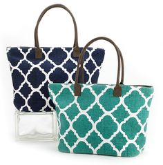 """Large Indian dhurrietotebag with trellis designon canvas. Perfect for a summer beach tote. 14"""" x 7"""" x 12"""" zipper top closure inside pockets and zipper compa"""