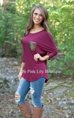 All Dazzled Up Tunic Burgundy!