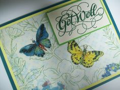 Get Well Card with Butterflies  Get Well by SilverCloudDelights, $4.00