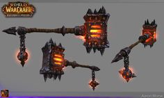 aaron morse wow warlords of draenor Fantasy Weapons, Fantasy Warrior, Prop Design, Game Design, World Of Warcraft Game, Star Wars Characters Pictures, Hand Painted Textures, Game Props, Game Themes