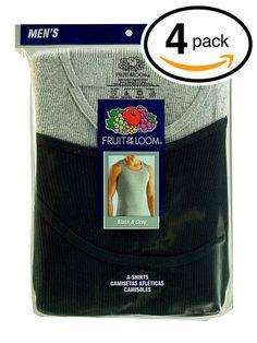 c0d17d1b857 Fruit of the Loom Mens Black   Grey A Shirts Tank Tops Undershirts