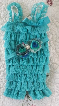 Beautiful Turquoise Lace Petti-Romper Newborn-toddler Lace romper