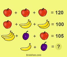 Brain teaser - Number And Math Puzzle - fruit brain teaser - This fun fruit brain teasers requires logical thinking. Can you find the numbers for different kind of fruit? There is an apple, banana and plum.