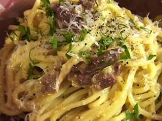 Spaghetti alla Carbonara from FoodNetwork.com  ~my best friend had us over for dinner & I watched her make this! Then we got to eat it! I never would have tried it, but now I enjoy making this for dinner every now & then~SC