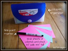 coupon organization - I just did this and I'm going to try and see how it works for me. Seems like a great idea. Make sure you plan your headings first if you are doing opposite colors!
