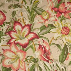 Lemoncello Vintage-Style Tropical Cotton Woven Print Fabric by the Yard Floral Print Fabric, Floral Prints, Tropical Prints, Tropical Fabric, Tropical Home Decor, Tropical Interior, Bridal Fabric, Mood Fabrics, Home Decor Fabric