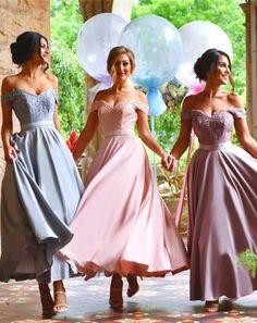 Charming A-Line Off-Shoulder Tea-Length Bridesmaid Dress with Appliques,Long Bridesmaid Dresses