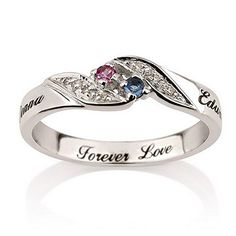 Engraved Sterling Silver split band is made especially for the two of you. Personalized with your birthstones and any two names. Ring is made of solid sterling silver with your choice of any two Swaro...