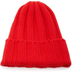 Tak.Ori Ribbed Knit Beanie ($150) ❤ liked on Polyvore featuring accessories, hats, red, beanie cap hat, red beanie hat, foldable hat, rib knit hat and rib knit beanie